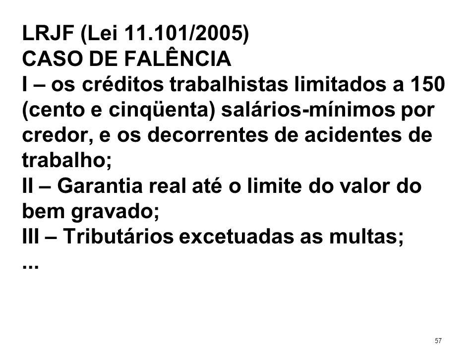 LRJF (Lei 11.101/2005) CASO DE FALÊNCIA I – os créditos trabalhistas limitados a 150 (cento e cinqüenta) salários-mínimos por credor, e os decorrentes
