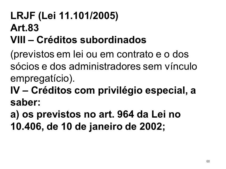 LRJF (Lei 11.101/2005) Art.83 VIII – Créditos subordinados (previstos em lei ou em contrato e o dos sócios e dos administradores sem vínculo empregatí