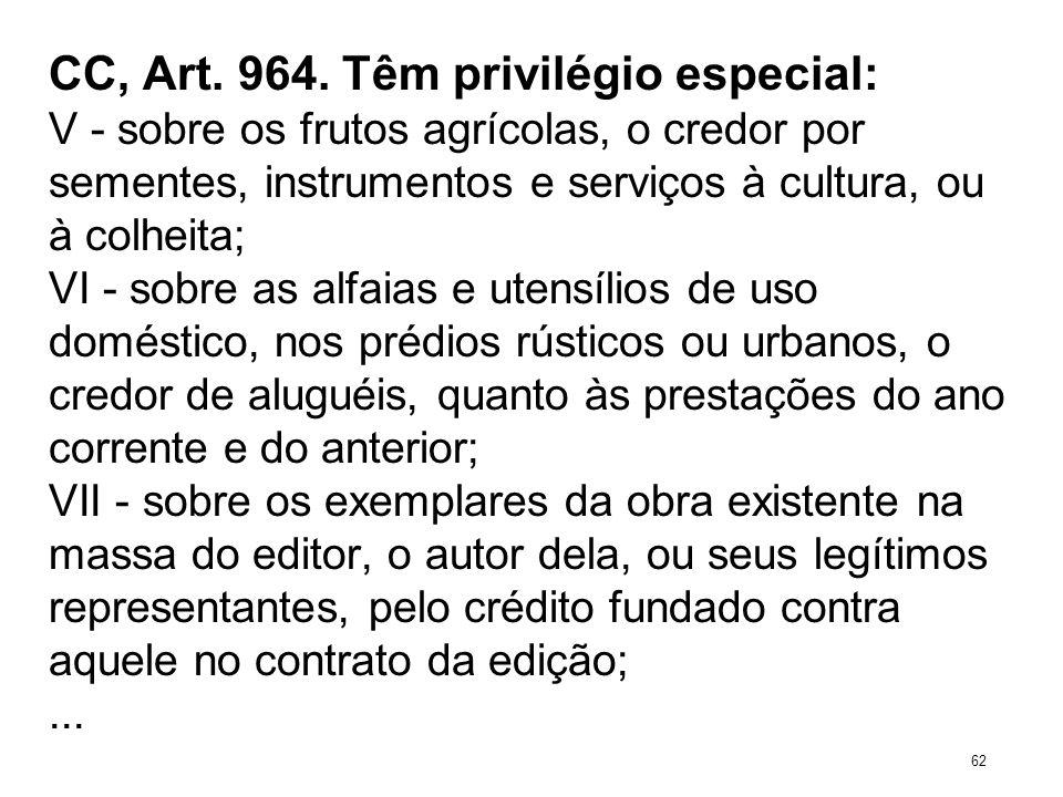 CC, Art. 964. Têm privilégio especial: V - sobre os frutos agrícolas, o credor por sementes, instrumentos e serviços à cultura, ou à colheita; VI - so