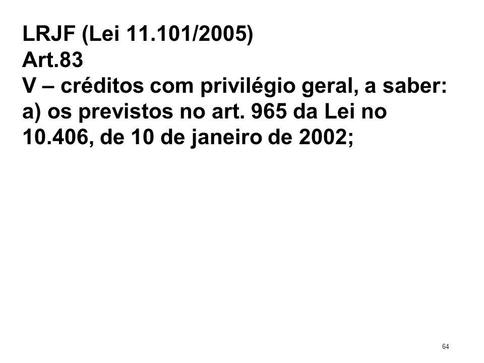 LRJF (Lei 11.101/2005) Art.83 V – créditos com privilégio geral, a saber: a) os previstos no art. 965 da Lei no 10.406, de 10 de janeiro de 2002; 64
