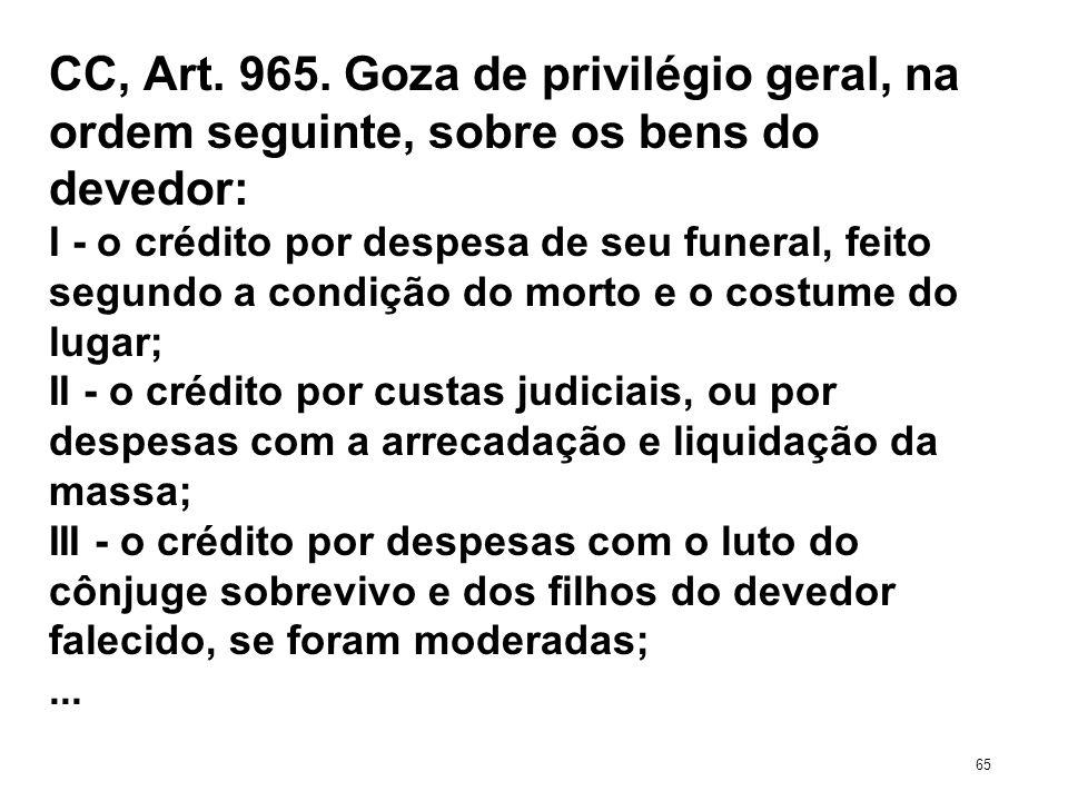 CC, Art. 965. Goza de privilégio geral, na ordem seguinte, sobre os bens do devedor: I - o crédito por despesa de seu funeral, feito segundo a condiçã