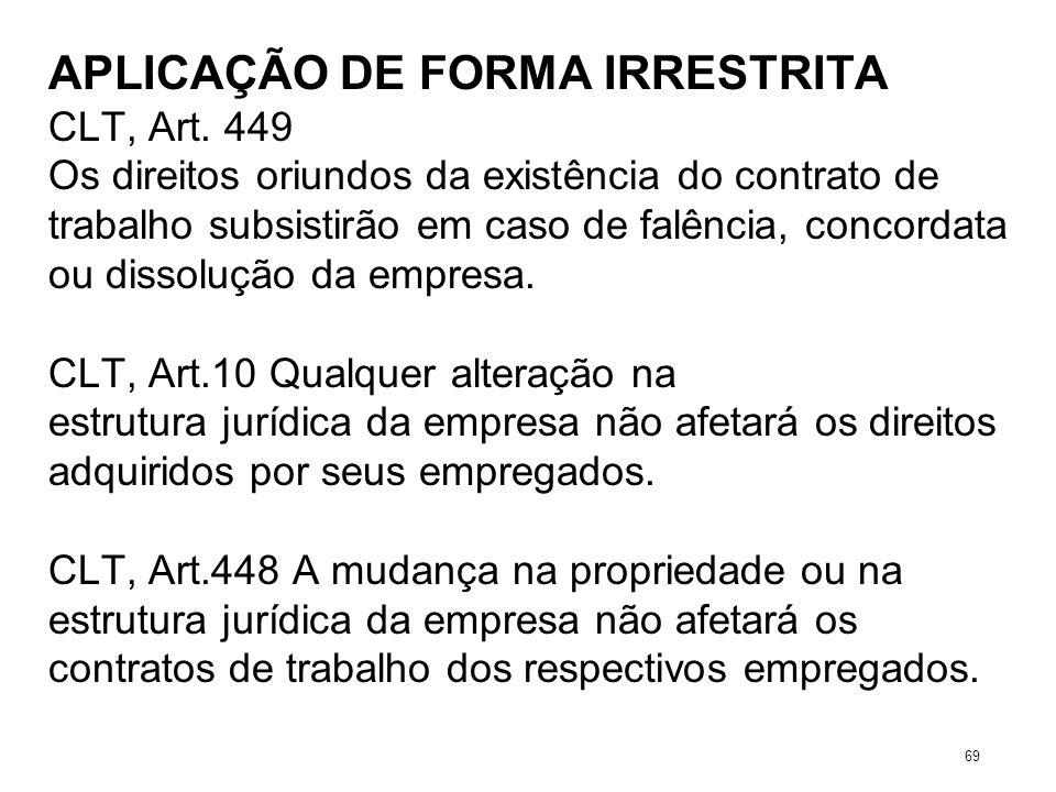 APLICAÇÃO DE FORMA IRRESTRITA CLT, Art. 449 Os direitos oriundos da existência do contrato de trabalho subsistirão em caso de falência, concordata ou