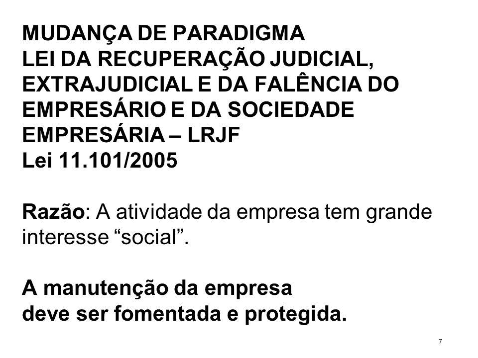 MUDANÇA DE PARADIGMA LEI DA RECUPERAÇÃO JUDICIAL, EXTRAJUDICIAL E DA FALÊNCIA DO EMPRESÁRIO E DA SOCIEDADE EMPRESÁRIA – LRJF Lei 11.101/2005 Razão: A
