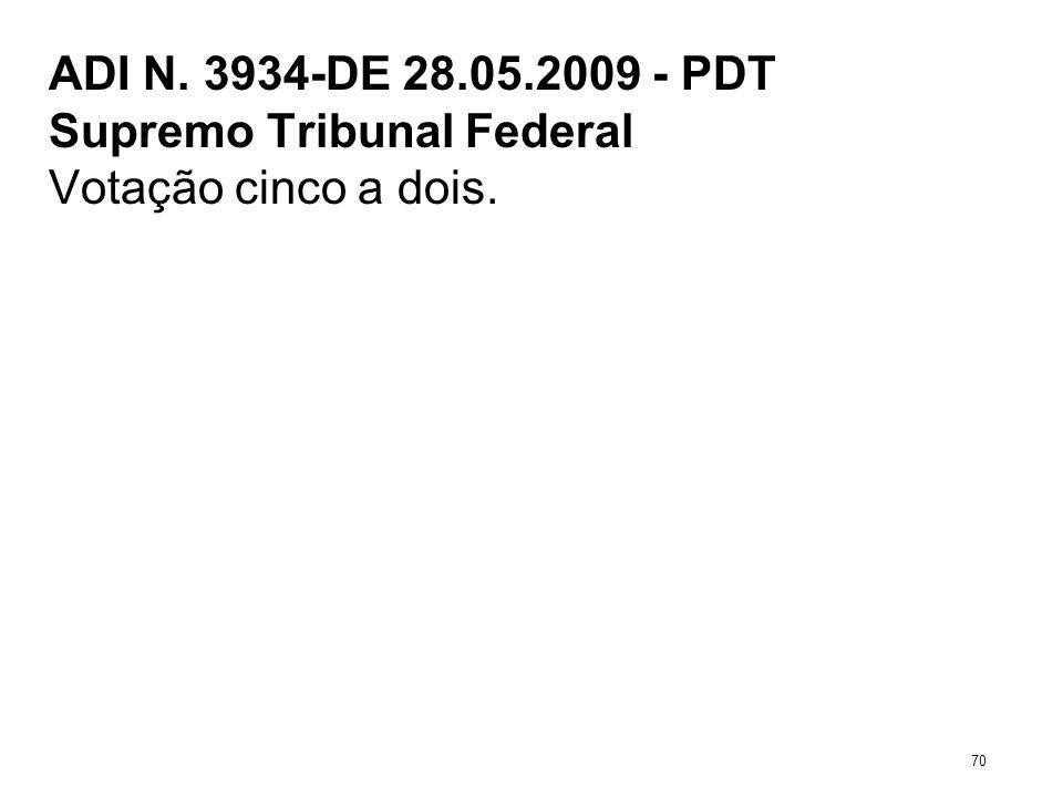 ADI N. 3934-DE 28.05.2009 - PDT Supremo Tribunal Federal Votação cinco a dois. 70