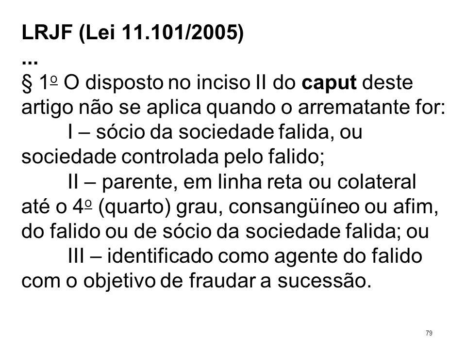 LRJF (Lei 11.101/2005)... § 1 o O disposto no inciso II do caput deste artigo não se aplica quando o arrematante for: I – sócio da sociedade falida, o