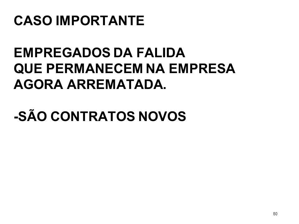 CASO IMPORTANTE EMPREGADOS DA FALIDA QUE PERMANECEM NA EMPRESA AGORA ARREMATADA. -SÃO CONTRATOS NOVOS 80