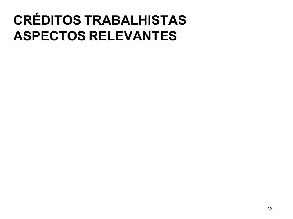 CRÉDITOS TRABALHISTAS ASPECTOS RELEVANTES 82