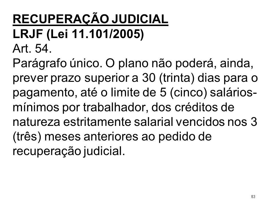 RECUPERAÇÃO JUDICIAL LRJF (Lei 11.101/2005) Art. 54. Parágrafo único. O plano não poderá, ainda, prever prazo superior a 30 (trinta) dias para o pagam