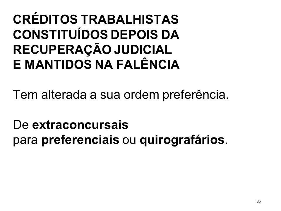CRÉDITOS TRABALHISTAS CONSTITUÍDOS DEPOIS DA RECUPERAÇÃO JUDICIAL E MANTIDOS NA FALÊNCIA Tem alterada a sua ordem preferência. De extraconcursais para