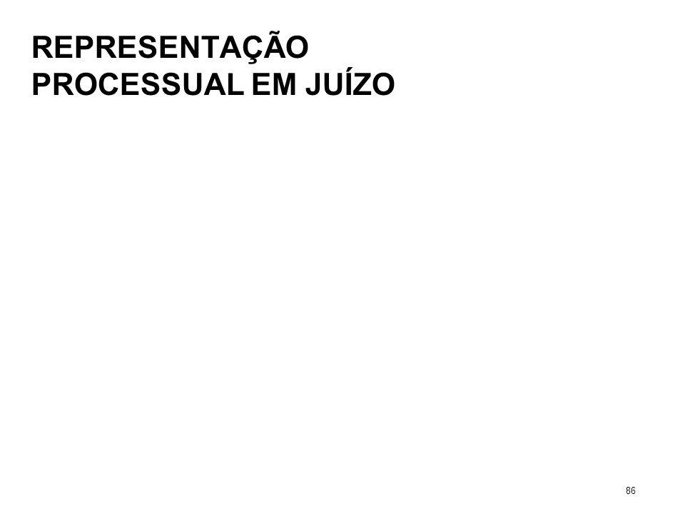 REPRESENTAÇÃO PROCESSUAL EM JUÍZO 86