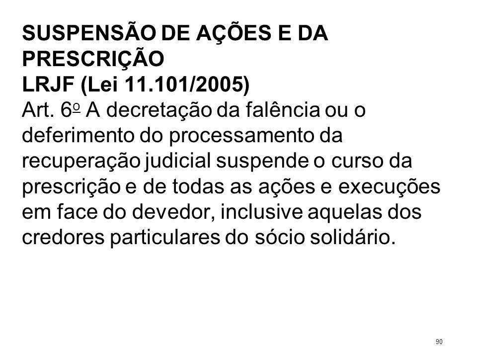 SUSPENSÃO DE AÇÕES E DA PRESCRIÇÃO LRJF (Lei 11.101/2005) Art. 6 o A decretação da falência ou o deferimento do processamento da recuperação judicial