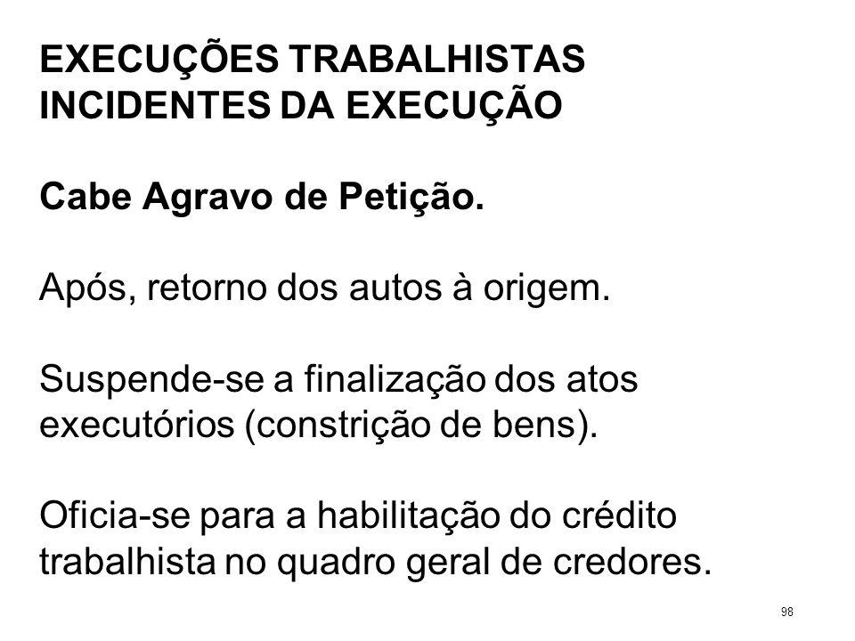 EXECUÇÕES TRABALHISTAS INCIDENTES DA EXECUÇÃO Cabe Agravo de Petição. Após, retorno dos autos à origem. Suspende-se a finalização dos atos executórios
