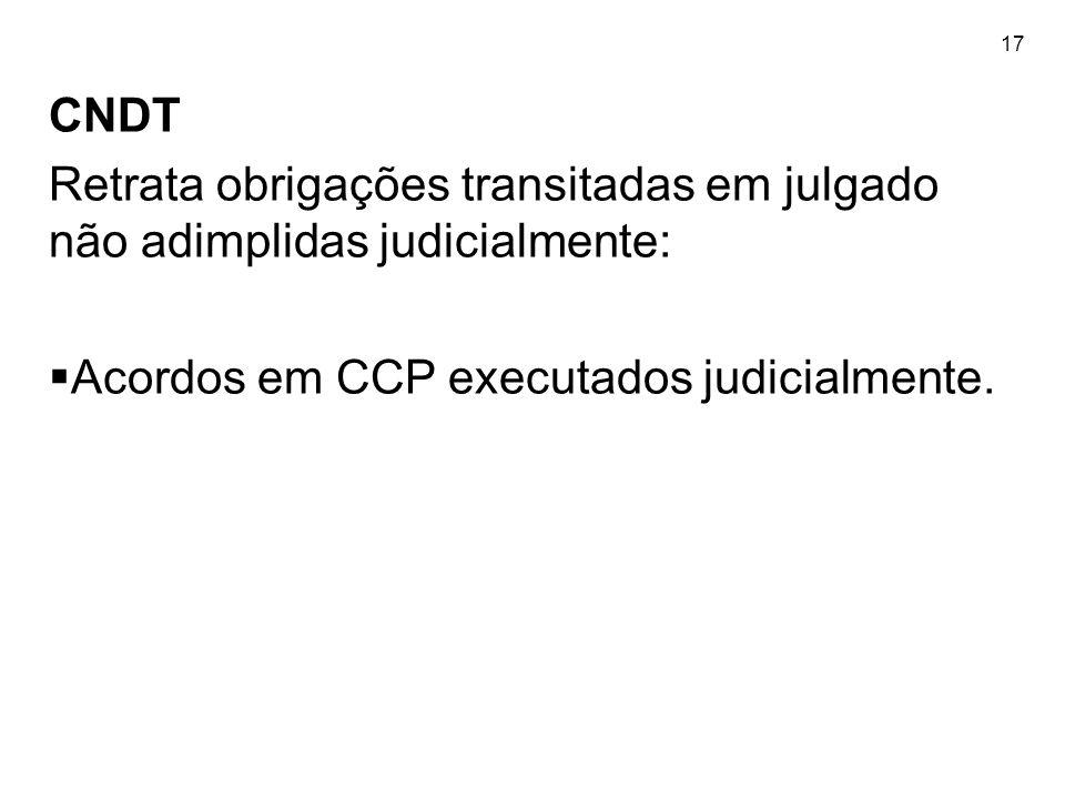 17 CNDT Retrata obrigações transitadas em julgado não adimplidas judicialmente: Acordos em CCP executados judicialmente.