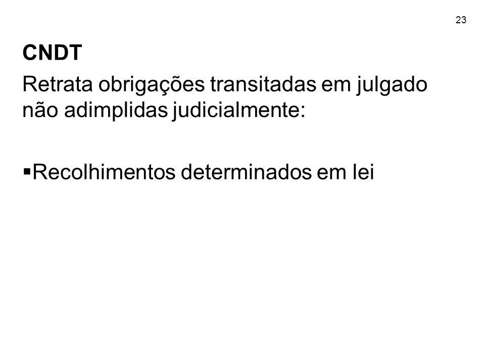 23 CNDT Retrata obrigações transitadas em julgado não adimplidas judicialmente: Recolhimentos determinados em lei