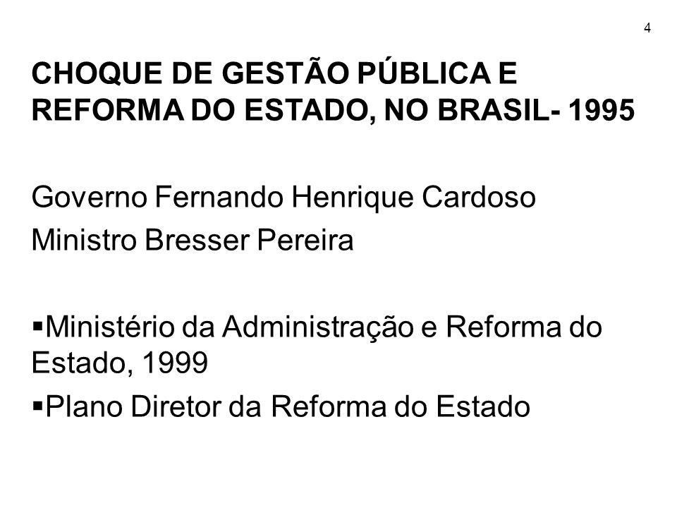 4 CHOQUE DE GESTÃO PÚBLICA E REFORMA DO ESTADO, NO BRASIL- 1995 Governo Fernando Henrique Cardoso Ministro Bresser Pereira Ministério da Administração