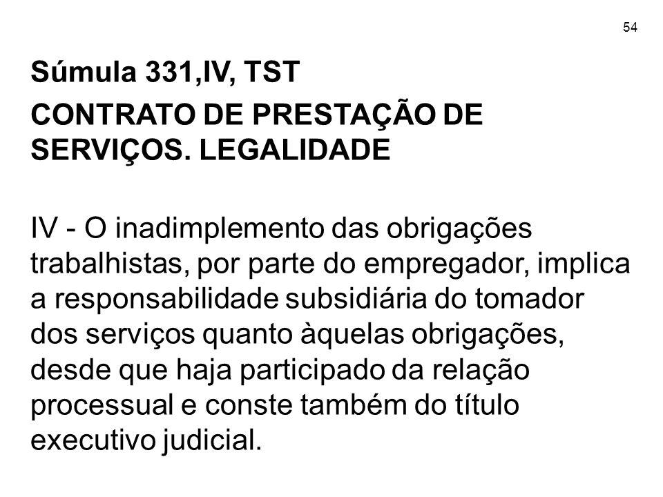 54 Súmula 331,IV, TST CONTRATO DE PRESTAÇÃO DE SERVIÇOS. LEGALIDADE IV - O inadimplemento das obrigações trabalhistas, por parte do empregador, implic