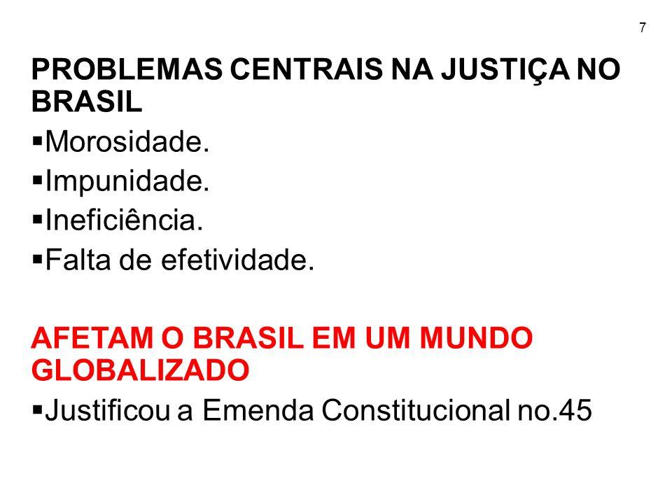 7 PROBLEMAS CENTRAIS NA JUSTIÇA NO BRASIL Morosidade. Impunidade. Ineficiência. Falta de efetividade. AFETAM O BRASIL EM UM MUNDO GLOBALIZADO Justific