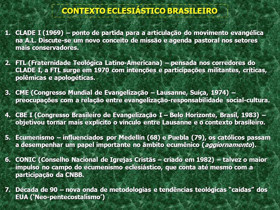 CONTEXTO ECLESIÁSTICO BRASILEIRO 1.CLADE I (1969) – ponto de partida para a articulação do movimento evangélica na A.L. Discute-se um novo conceito de