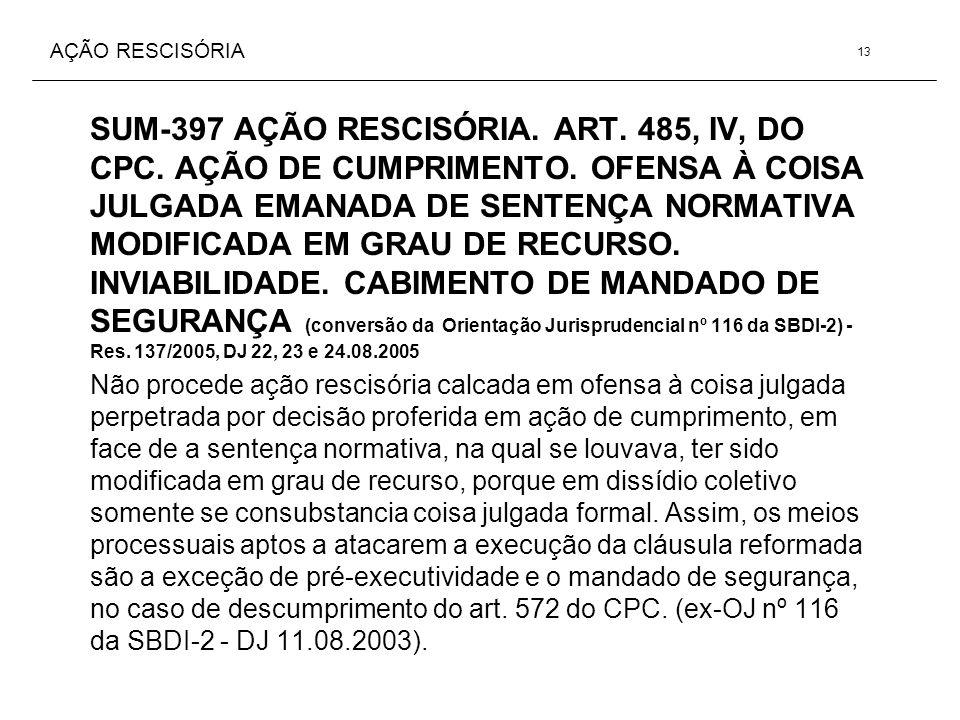 AÇÃO RESCISÓRIA SUM-397 AÇÃO RESCISÓRIA. ART. 485, IV, DO CPC. AÇÃO DE CUMPRIMENTO. OFENSA À COISA JULGADA EMANADA DE SENTENÇA NORMATIVA MODIFICADA EM