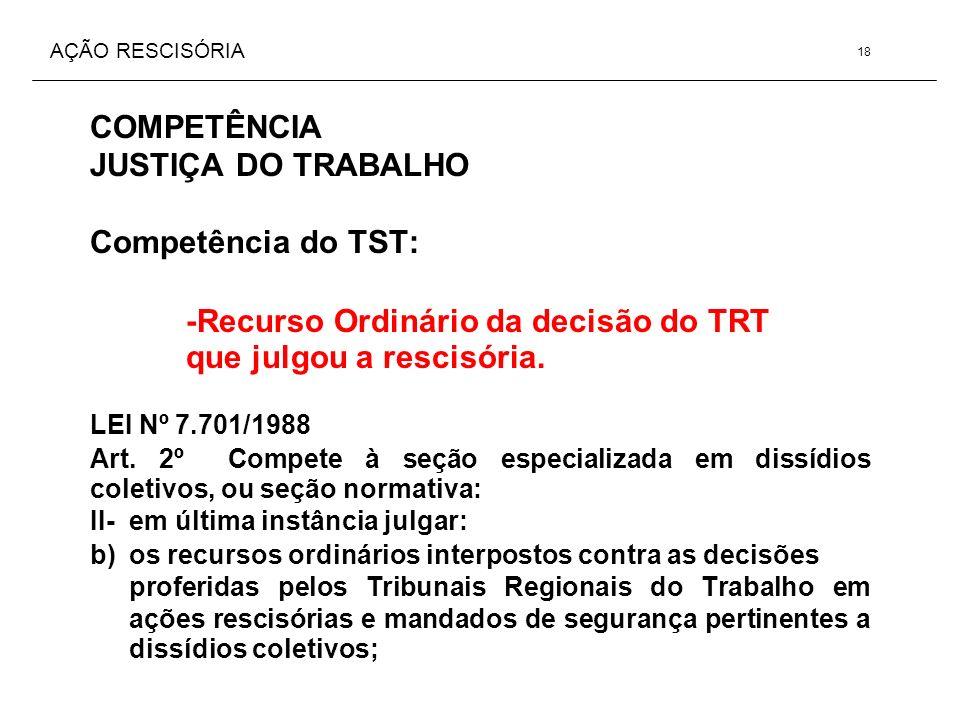 AÇÃO RESCISÓRIA COMPETÊNCIA JUSTIÇA DO TRABALHO Competência do TST: -Recurso Ordinário da decisão do TRT que julgou a rescisória. LEI Nº 7.701/1988 Ar