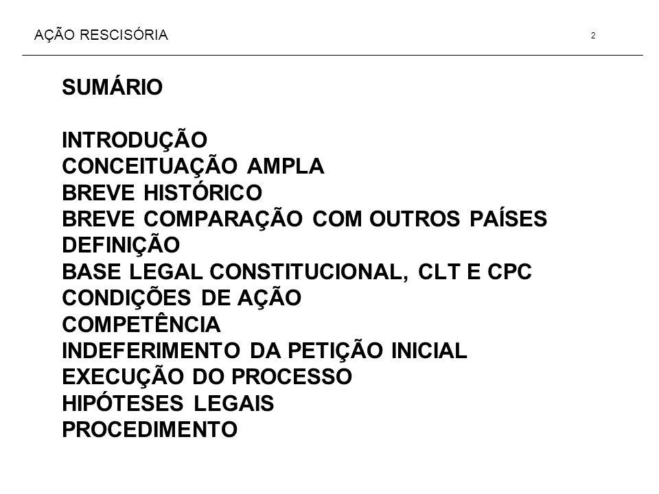 AÇÃO RESCISÓRIA SUMÁRIO INTRODUÇÃO CONCEITUAÇÃO AMPLA BREVE HISTÓRICO BREVE COMPARAÇÃO COM OUTROS PAÍSES DEFINIÇÃO BASE LEGAL CONSTITUCIONAL, CLT E CP