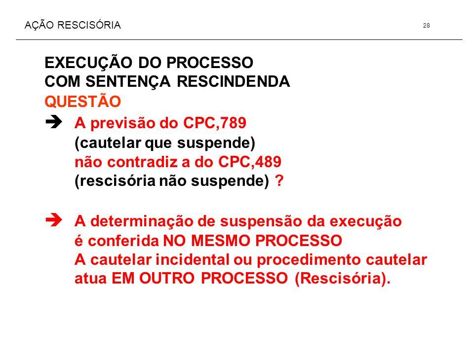 AÇÃO RESCISÓRIA EXECUÇÃO DO PROCESSO COM SENTENÇA RESCINDENDA QUESTÃO A previsão do CPC,789 (cautelar que suspende) não contradiz a do CPC,489 (rescis