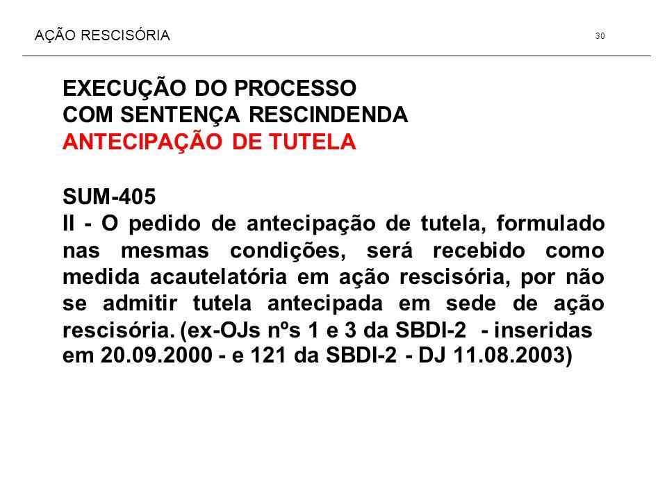 AÇÃO RESCISÓRIA EXECUÇÃO DO PROCESSO COM SENTENÇA RESCINDENDA ANTECIPAÇÃO DE TUTELA SUM-405 II - O pedido de antecipação de tutela, formulado nas mesm