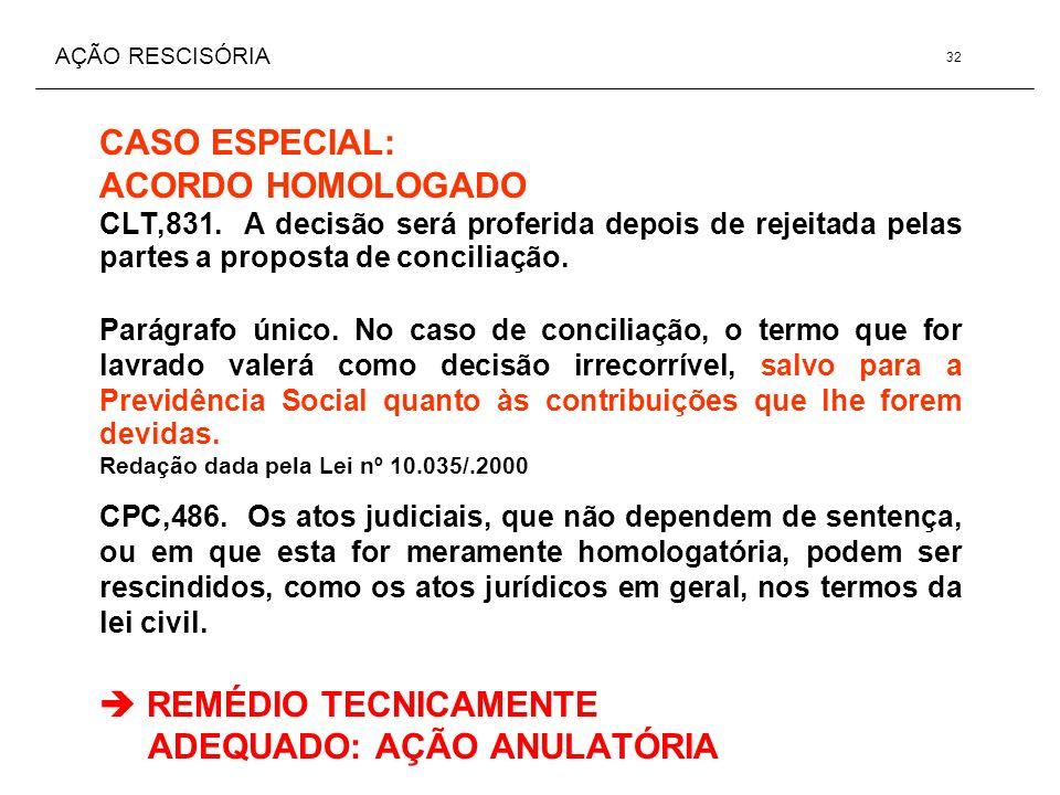 AÇÃO RESCISÓRIA CASO ESPECIAL: ACORDO HOMOLOGADO CLT,831. A decisão será proferida depois de rejeitada pelas partes a proposta de conciliação. Parágra