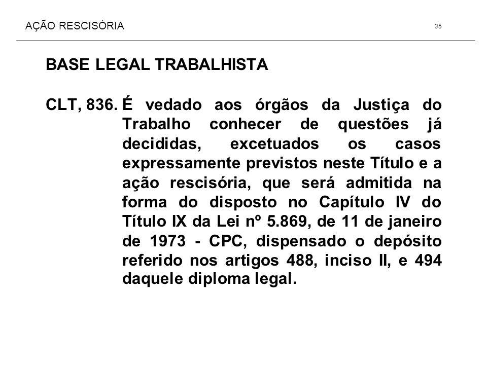 AÇÃO RESCISÓRIA BASE LEGAL TRABALHISTA CLT, 836.É vedado aos órgãos da Justiça do Trabalho conhecer de questões já decididas, excetuados os casos expr