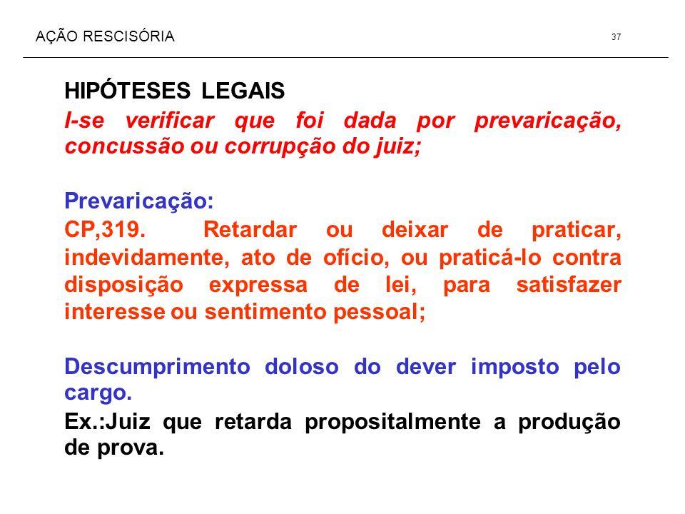 AÇÃO RESCISÓRIA HIPÓTESES LEGAIS I-se verificar que foi dada por prevaricação, concussão ou corrupção do juiz; Prevaricação: CP,319. Retardar ou deixa