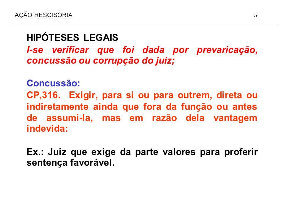 AÇÃO RESCISÓRIA HIPÓTESES LEGAIS I-se verificar que foi dada por prevaricação, concussão ou corrupção do juiz; Concussão: CP,316. Exigir, para si ou p