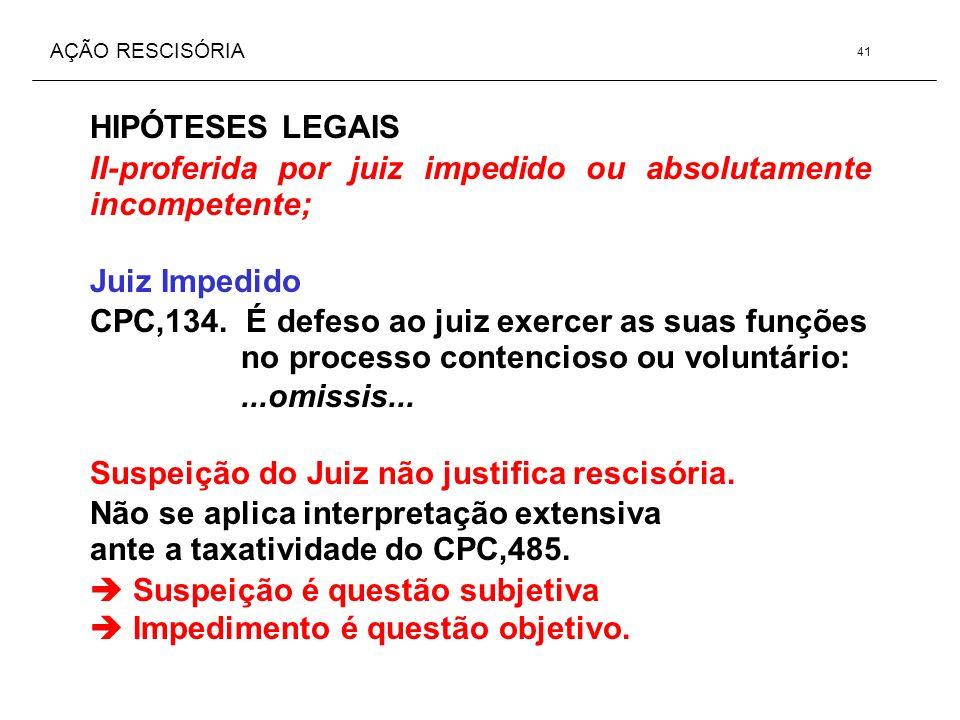 AÇÃO RESCISÓRIA HIPÓTESES LEGAIS II-proferida por juiz impedido ou absolutamente incompetente; Juiz Impedido CPC,134. É defeso ao juiz exercer as suas