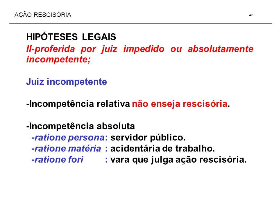 AÇÃO RESCISÓRIA HIPÓTESES LEGAIS II-proferida por juiz impedido ou absolutamente incompetente; Juiz incompetente -Incompetência relativa não enseja re