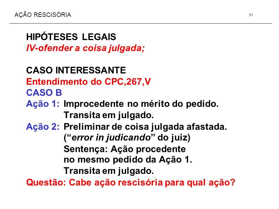 AÇÃO RESCISÓRIA HIPÓTESES LEGAIS IV-ofender a coisa julgada; CASO INTERESSANTE Entendimento do CPC,267,V CASO B Ação 1: Improcedente no mérito do pedi