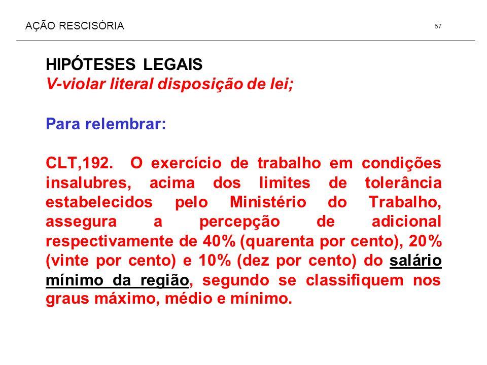 AÇÃO RESCISÓRIA HIPÓTESES LEGAIS V-violar literal disposição de lei; Para relembrar: CLT,192. O exercício de trabalho em condições insalubres, acima d