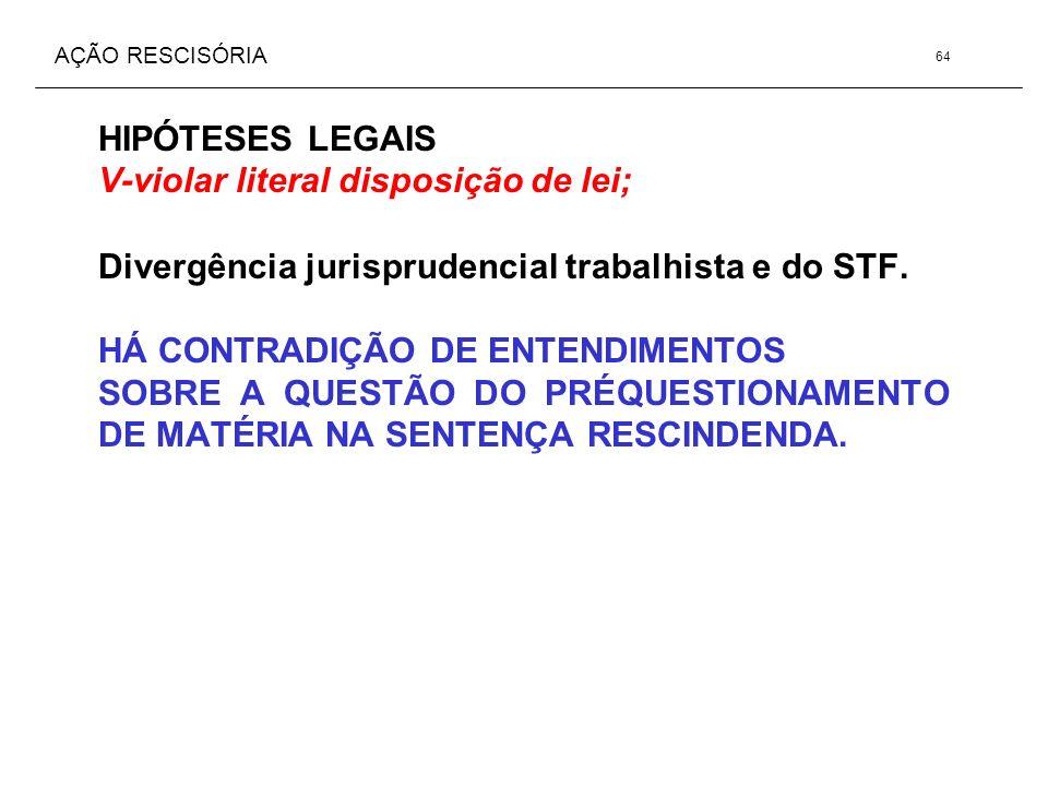 AÇÃO RESCISÓRIA HIPÓTESES LEGAIS V-violar literal disposição de lei; Divergência jurisprudencial trabalhista e do STF. HÁ CONTRADIÇÃO DE ENTENDIMENTOS
