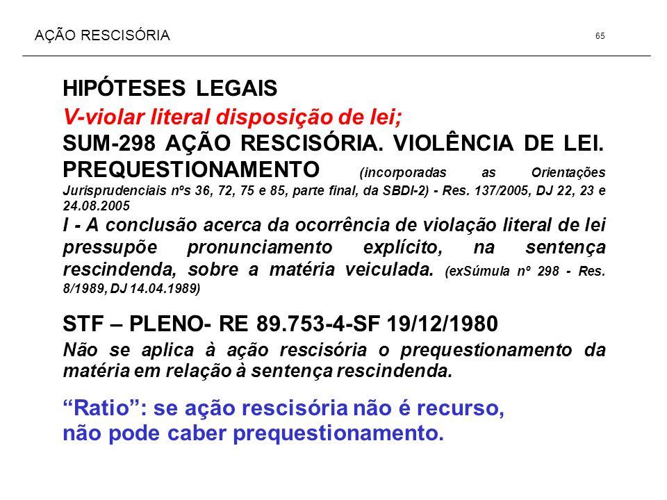 AÇÃO RESCISÓRIA HIPÓTESES LEGAIS V-violar literal disposição de lei; SUM-298 AÇÃO RESCISÓRIA. VIOLÊNCIA DE LEI. PREQUESTIONAMENTO (incorporadas as Ori