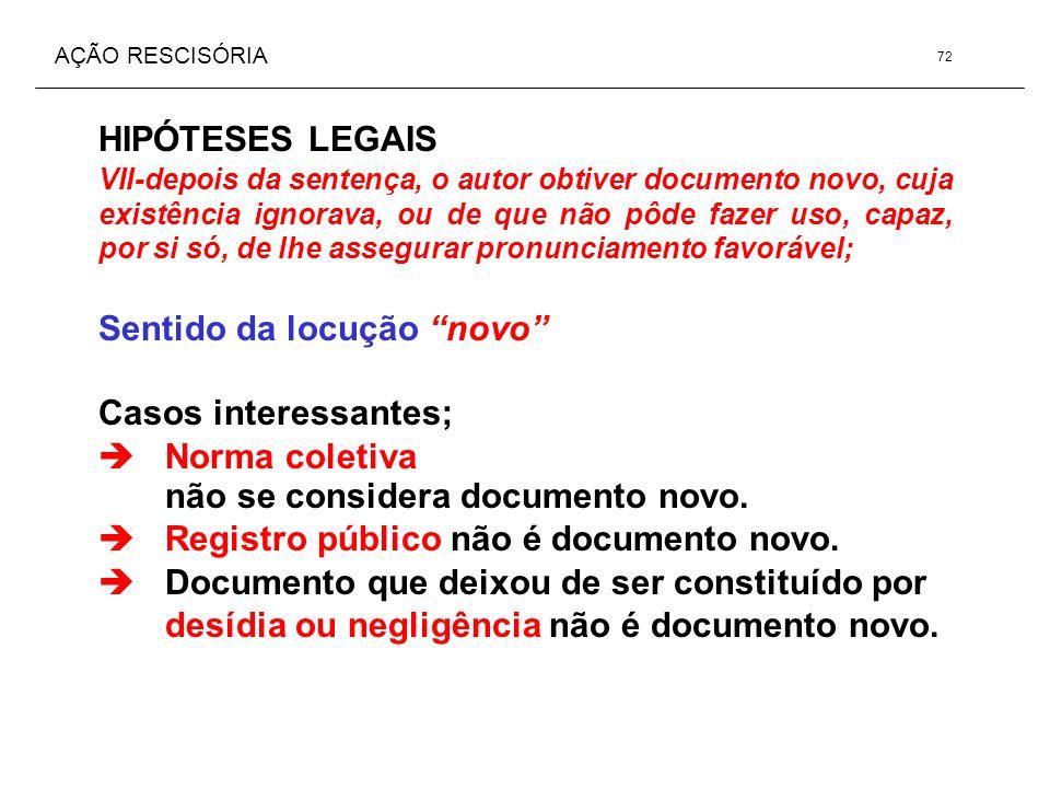 AÇÃO RESCISÓRIA HIPÓTESES LEGAIS VII-depois da sentença, o autor obtiver documento novo, cuja existência ignorava, ou de que não pôde fazer uso, capaz