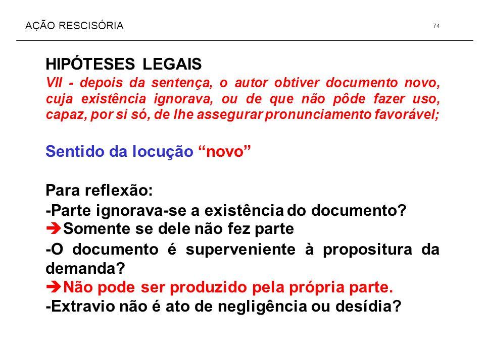 AÇÃO RESCISÓRIA HIPÓTESES LEGAIS VII - depois da sentença, o autor obtiver documento novo, cuja existência ignorava, ou de que não pôde fazer uso, cap