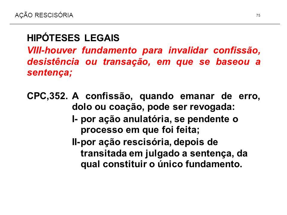 AÇÃO RESCISÓRIA HIPÓTESES LEGAIS VIII-houver fundamento para invalidar confissão, desistência ou transação, em que se baseou a sentença; CPC,352.A con