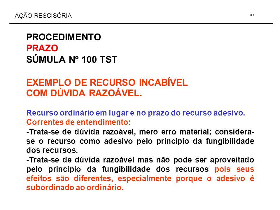 AÇÃO RESCISÓRIA PROCEDIMENTO PRAZO SÚMULA Nº 100 TST EXEMPLO DE RECURSO INCABÍVEL COM DÚVIDA RAZOÁVEL. Recurso ordinário em lugar e no prazo do recurs