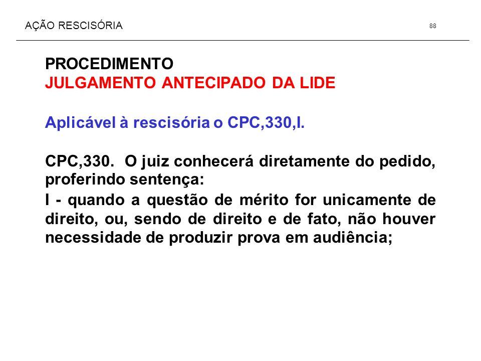 AÇÃO RESCISÓRIA PROCEDIMENTO JULGAMENTO ANTECIPADO DA LIDE Aplicável à rescisória o CPC,330,I. CPC,330. O juiz conhecerá diretamente do pedido, profer