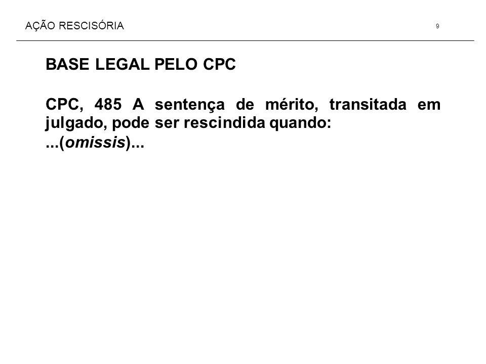 AÇÃO RESCISÓRIA BASE LEGAL PELO CPC CPC, 485 A sentença de mérito, transitada em julgado, pode ser rescindida quando:...(omissis)... 9