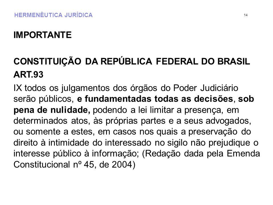 HERMENÊUTICA JURÍDICA IMPORTANTE CONSTITUIÇÃO DA REPÚBLICA FEDERAL DO BRASIL ART.93 IX todos os julgamentos dos órgãos do Poder Judiciário serão públi