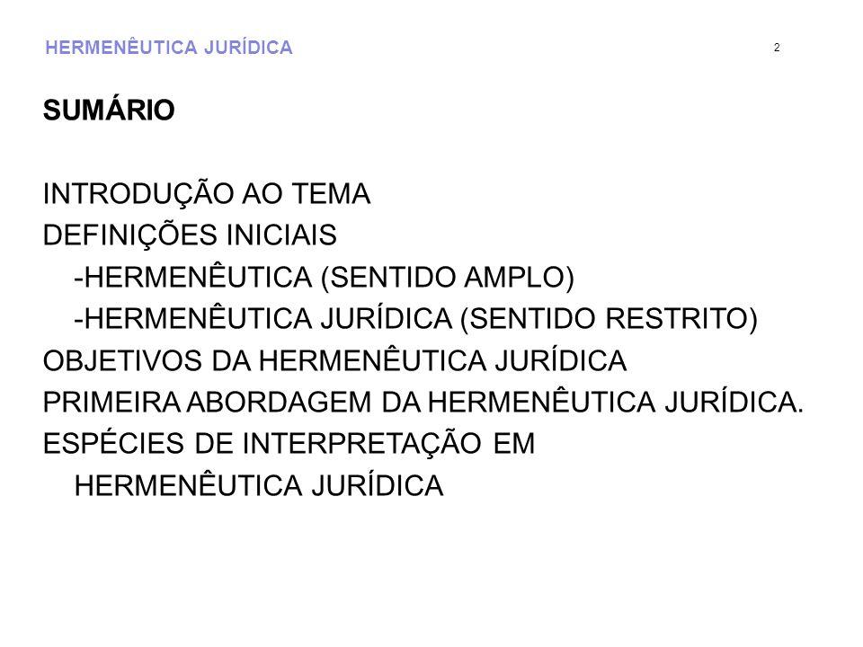 HERMENÊUTICA JURÍDICA SUMÁRIO INTRODUÇÃO AO TEMA DEFINIÇÕES INICIAIS -HERMENÊUTICA (SENTIDO AMPLO) -HERMENÊUTICA JURÍDICA (SENTIDO RESTRITO) OBJETIVOS