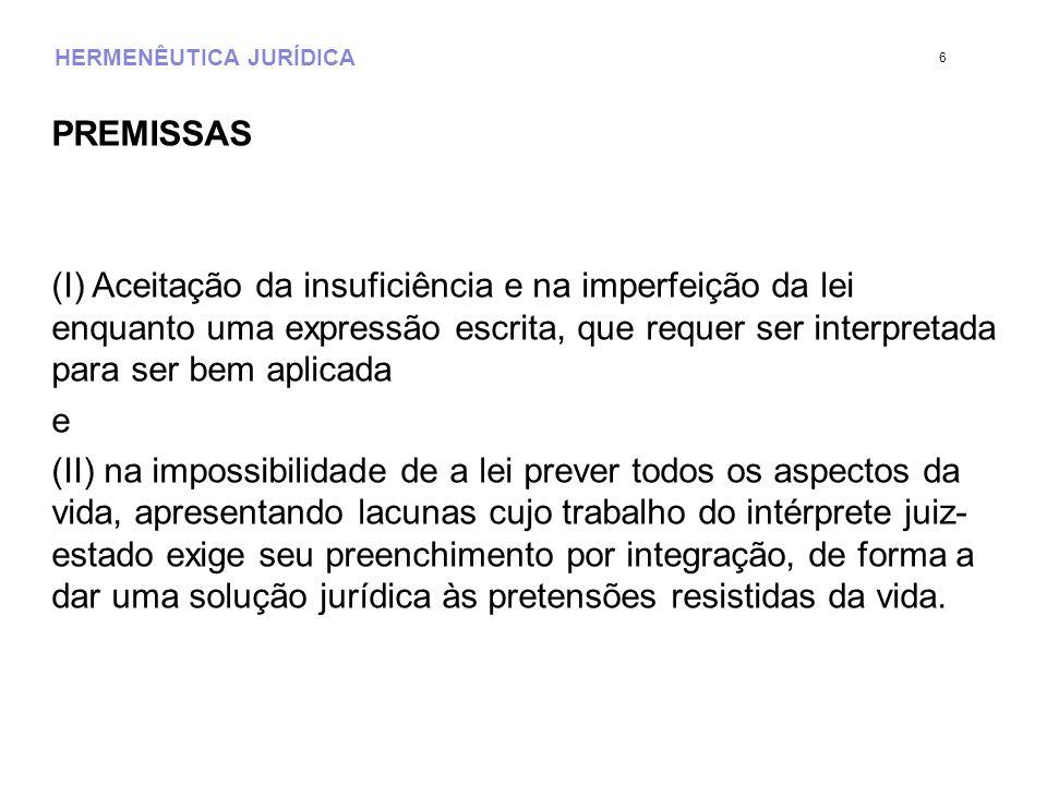 HERMENÊUTICA JURÍDICA PREMISSAS (I) Aceitação da insuficiência e na imperfeição da lei enquanto uma expressão escrita, que requer ser interpretada par