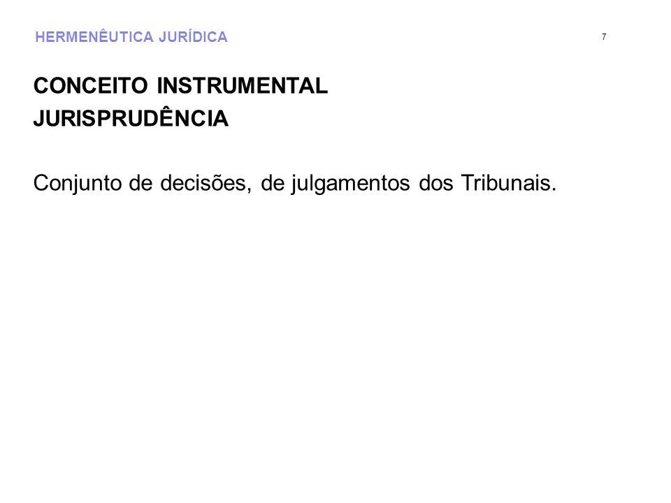 HERMENÊUTICA JURÍDICA CONCEITO INSTRUMENTAL JURISPRUDÊNCIA Conjunto de decisões, de julgamentos dos Tribunais. 7