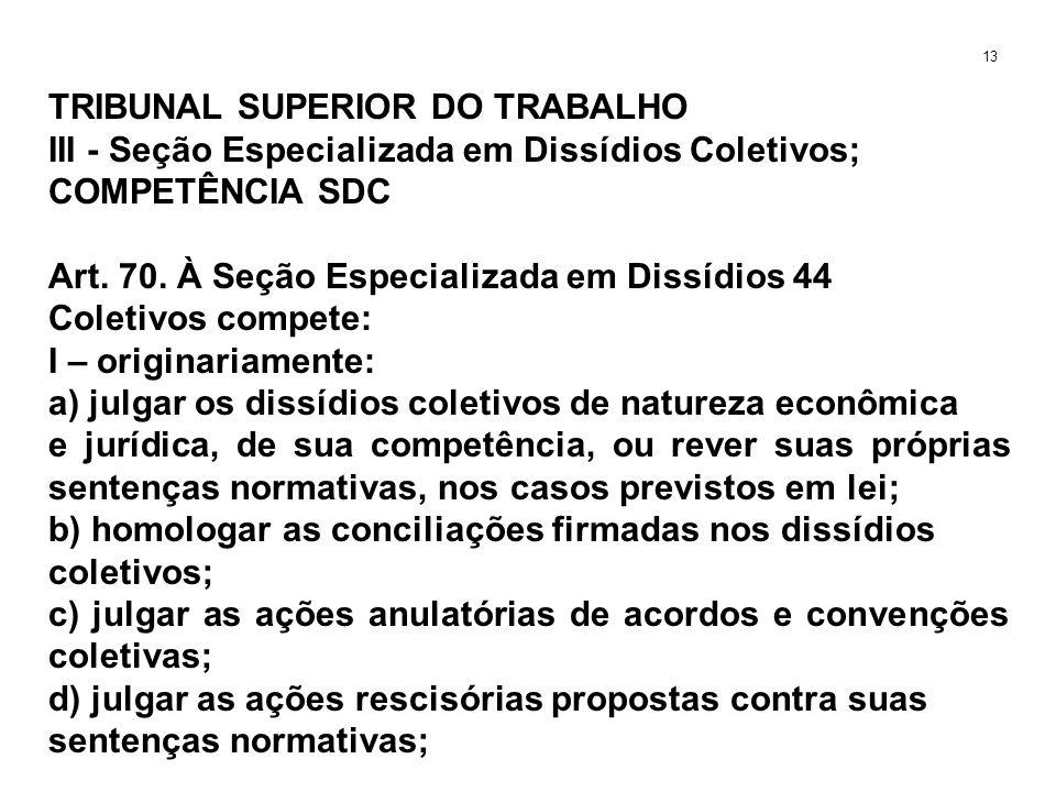 TRIBUNAL SUPERIOR DO TRABALHO III - Seção Especializada em Dissídios Coletivos; COMPETÊNCIA SDC Art. 70. À Seção Especializada em Dissídios 44 Coletiv