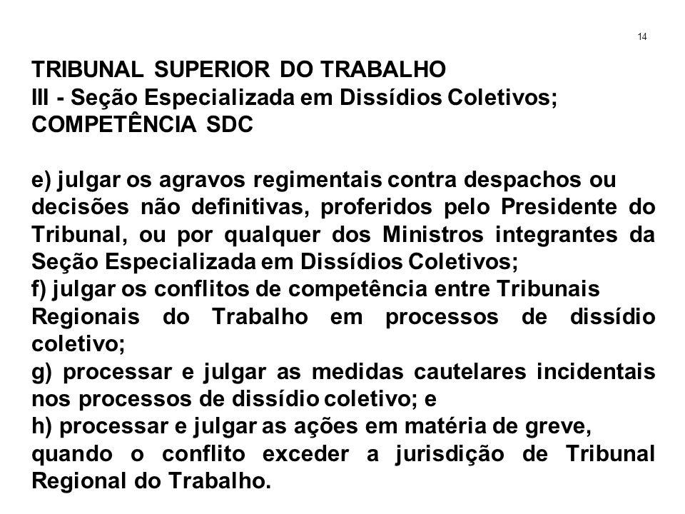 TRIBUNAL SUPERIOR DO TRABALHO III - Seção Especializada em Dissídios Coletivos; COMPETÊNCIA SDC e) julgar os agravos regimentais contra despachos ou d