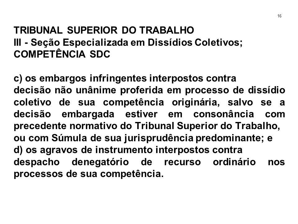 TRIBUNAL SUPERIOR DO TRABALHO III - Seção Especializada em Dissídios Coletivos; COMPETÊNCIA SDC c) os embargos infringentes interpostos contra decisão